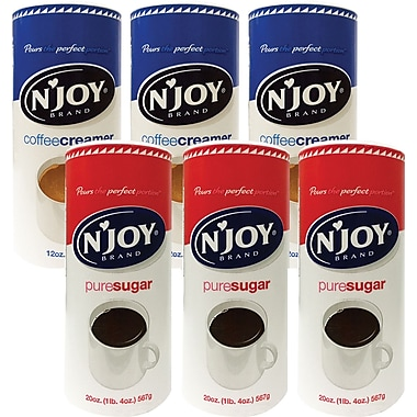 'N Joy Sugar or Non Dairy Coffee Creamer Value Pack, 3/Pack