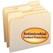 Smead® File Folder with Antimicrobial Product Protection, 1/3-Cut Tab, Letter Size, 100/Box