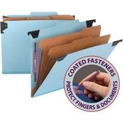 "Smead® Hanging Pressboard Classification File Folder w/ SafeSHIELD® Fastener, 2"" Exp., 2/5 Tab, Blue"
