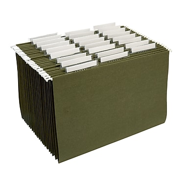 Staples® 100% Recycled Hanging File Folders, Standard Green, 3 Tab, Tabs & Inserts Included, 25/Box