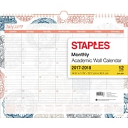 "2017-2018 Staples®14 7/8""x11 7/8""Medium Academic Monthly Wall Calendar, Floral Medallion, 12 Months(27110-17)"