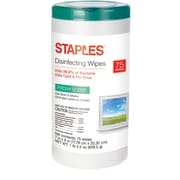 Staples Disinfecting Wipes, 75 Wipes/Canisters