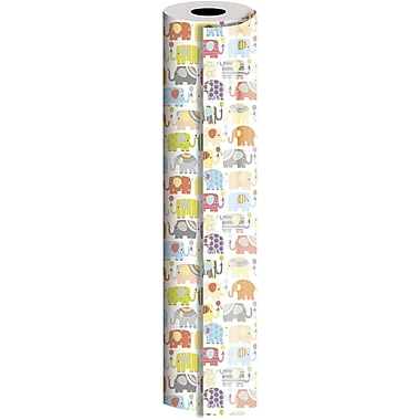JAM Paper® Industrial Size Wrapping Paper Rolls, Elephant Parade, 24