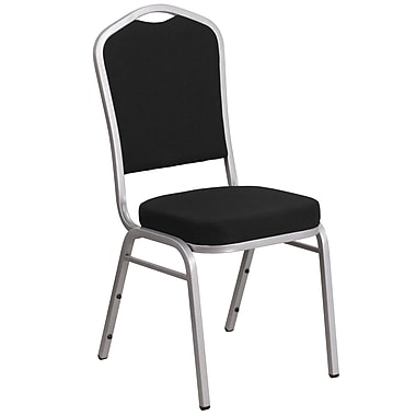 HERCULES Series Crown Back Stacking Banquet Chair with Fabric and 2.5'' Thick Seat, Silver Frame (FD-C01-S-11-GG)