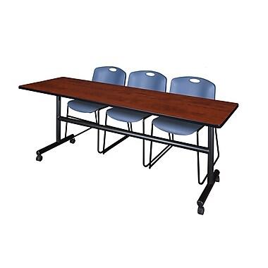 Regency ? Table de formation rabattable et mobile Kobe de 84 po au fini cerisier et 3 chaises empilables Zeng
