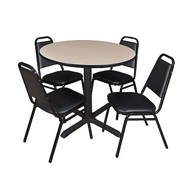 Regency ? Table ronde de salle de pause Cain de 42 po et 4 chaises de restaurant empilables, noir