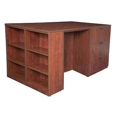 Regency Legacy Stand Up 2 Lateral File/Storage Cabinet/Desk Quad with Bookcase End