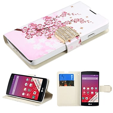 Insten Flip Leather Fabric Case With Stand/Card Slot/Diamond For LG Optimus F60