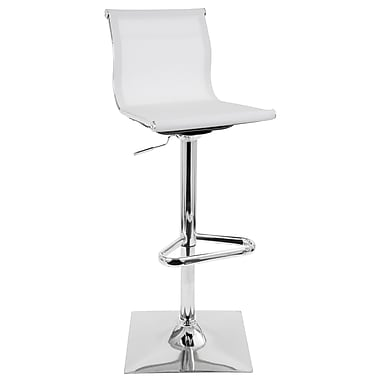 LumiSource Mirage Height Adjustable Contemporary Barstool with Swivel in White (BS-TW-MIRAGE W)